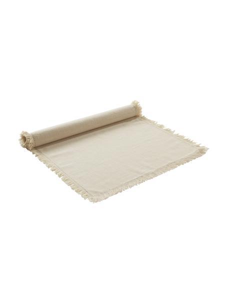 Katoenen tafelloper Henley met franjes, 100% katoen, Beige, 40 x 140 cm