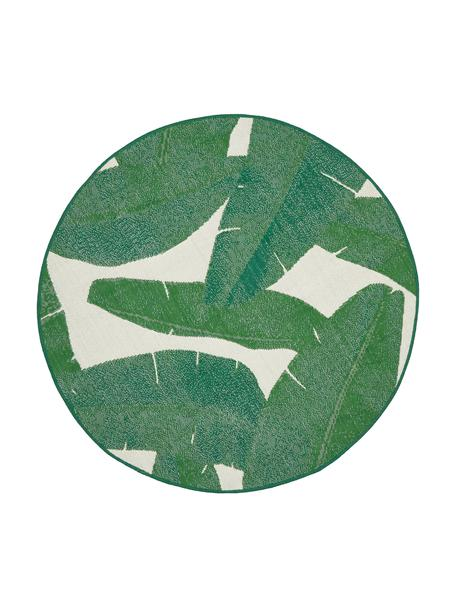 Alfombra de interior/exterior Jungle, 86%polipropileno, 14%poliéster, Blanco, verde, Ø 140 cm (Tamaño M)