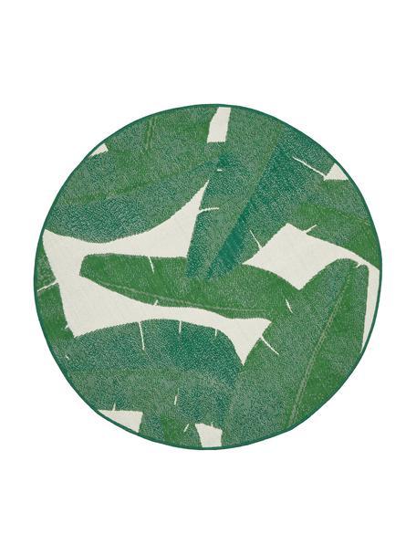 Tappeto da interno-esterno con motivo foglie Jungle, 86% polipropilene, 14% poliestere, Bianco, verde, Ø 140 cm (taglia M)
