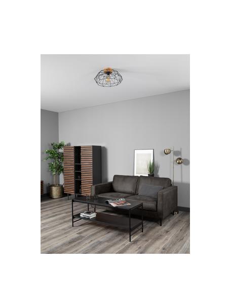 Sofa ze skóry z recyklingu Hunter (2-osobowa), Tapicerka: skóra z recyklingu (70% s, Nogi: tworzywo sztuczne, Szarobrązowy, S 164 x G 90 cm