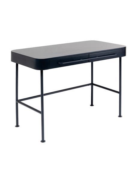 Scrivania grigio chiaro Montieri, Gambe: acciaio verniciato a polv, Maniglie: acciaio verniciato a polv, Antracite, Larg. 100 x Prof. 55 cm