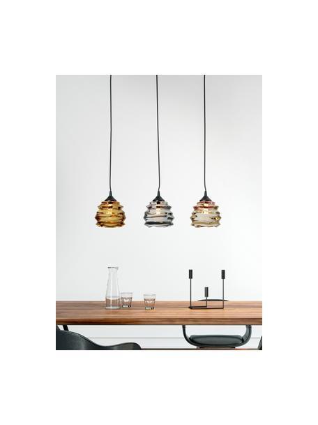 Lampada a sospensione Ruffle, Paralume: vetro, Baldacchino: acciaio verniciato, Arancione, grigio, ambra, Larg. 69 x Alt. 17 cm