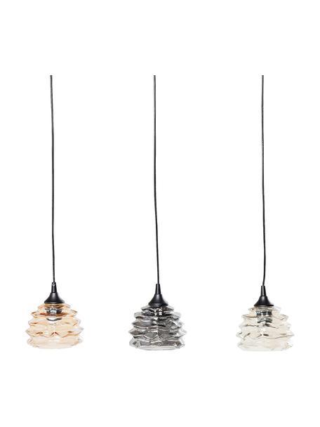 Pendelleuchte Ruffle aus Glas, Lampenschirm: Glas, Baldachin: Stahl, lackiert, Orange, Grau, Bernsteinfarben, 69 x 17 cm