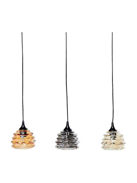 Hanglamp Ruffle van glas, Lampenkap: glas, Baldakijn: gelakt staal, Oranje, grijs, amberkleurig, 69 x 17 cm