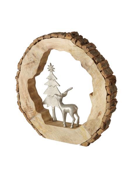 Decoratief object Ullach met metalen figuurtjes H 40 cm, Voetstuk: hout, Zilverkleurig, beige, 40 x 40 cm