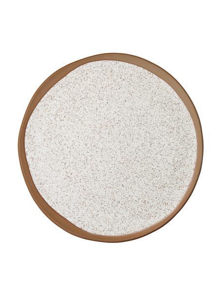 Speiseteller Caja in Braun/Beige matt, 2 Stück, Steingut, Beige, Braun, Ø 26 cm