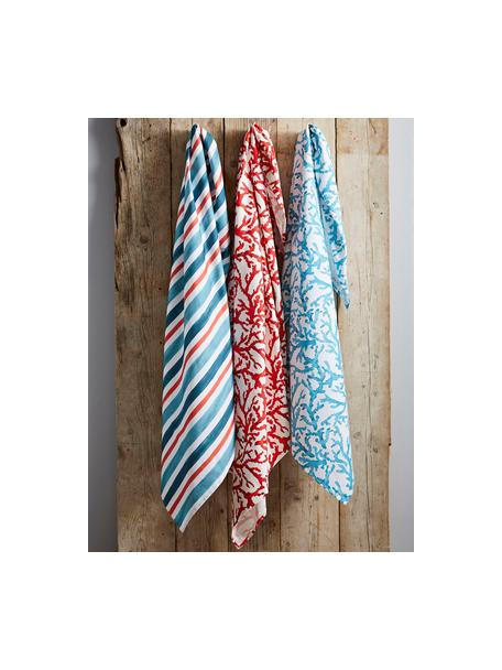 Ręcznik kuchenny z bawełny Estran, 2 szt., Bawełna, Biały, niebieski, S 50 x D 70 cm
