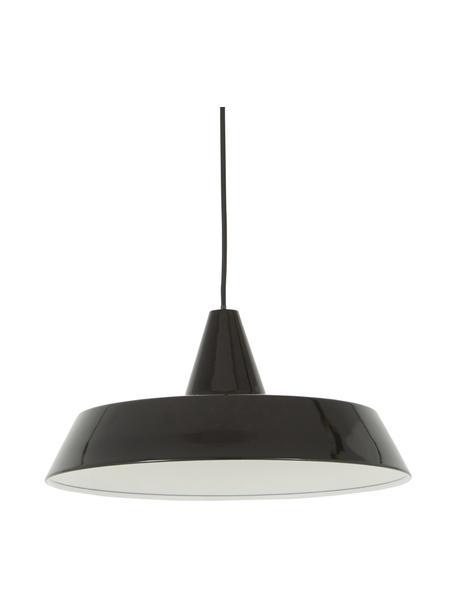Scandi hanglamp Jubilee, Lampenkap: gelakt staal, Baldakijn: kunststof, Zwart, Ø 40  x H 20 cm