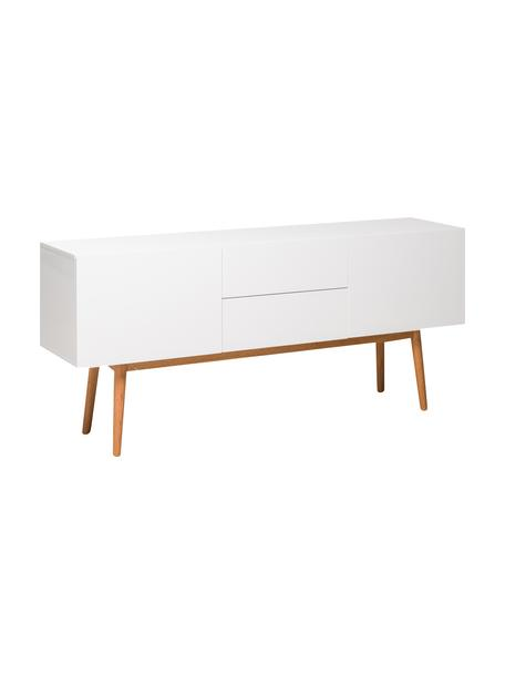 Aparador High on Wood, Estructura: tablero de fibras de dens, Patas: madera de roble maciza, Blanco, An 160 x Al 72 cm