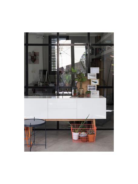 Dressoir High on Wood in wit hoogglans, Frame: PU gelakt MDF, Poten: massief eikenhout, Wit, 160 x 72 cm