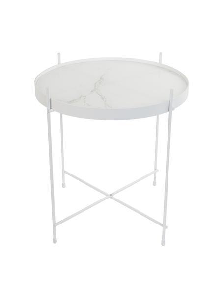 Mesa auxiliar Cupid, tablero de cristal en aspecto mármol, Estructura: hierro con pintura en pol, Tablero: vidrio laminado con efect, Blanco, Ø 43 x Al 45 cm