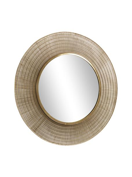 Runder Wandspiegel Place mit messingfarbenem Metallrahmen, Rahmen: Metall, vermessingt, Spiegelfläche: Spiegelglas, Messingfarben, Ø 80 x T 2 cm