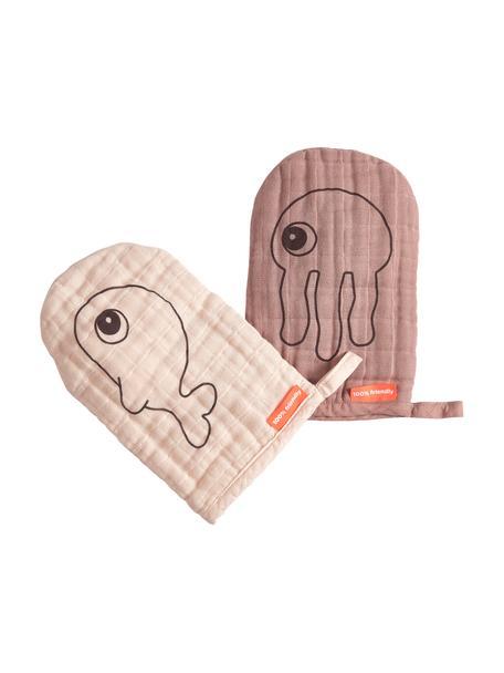Waschlappen-Set Sea Friends, 2-tlg., 100% Baumwolle, Oeko-Tex-zertifiziert, Rosa, 13 x 18 cm