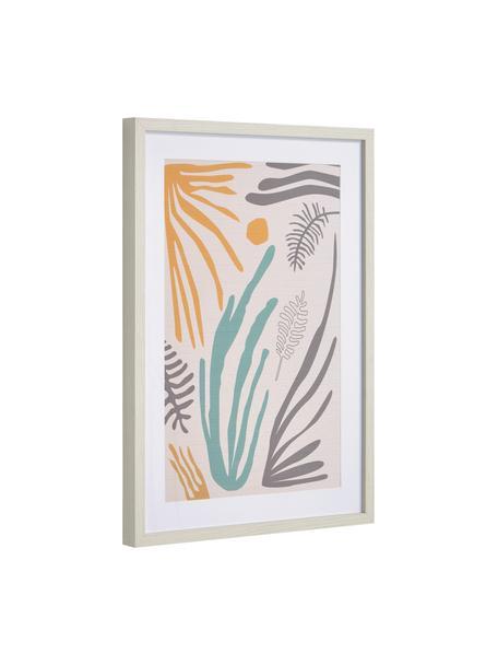 Gerahmter Digitaldruck Kamara, Rahmen: Mitteldichte Holzfaserpla, Bild: Papier, Front: Glas, Beige, Orange, Blau, Lila, 50 x 70 cm