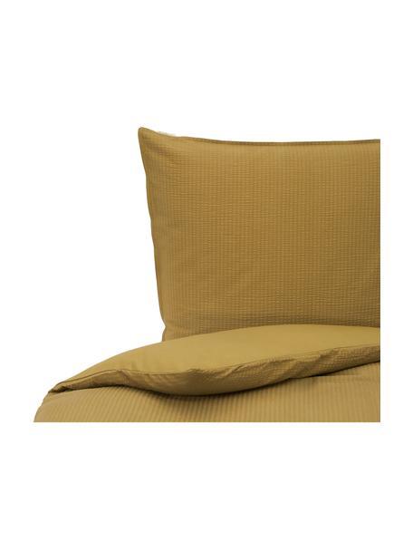Seersucker-Bettwäsche Basic & Tough, Webart: , Vorderseite: Seersucker, Rückseite: Renforcé Fadendichte 144 , Honiggelb, 135 x 200 cm + 1 Kissen 80 x 80 cm