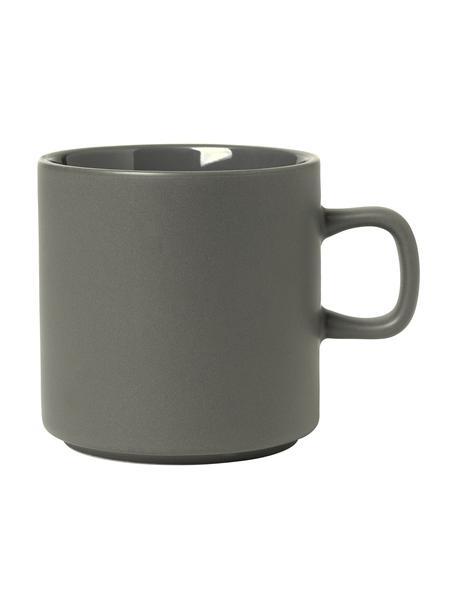 Kaffeetassen Pilar in Dunkelgrau matt/glänzend, 6 Stück, Keramik, Dunkelgrau, Ø 9 x H 9 cm