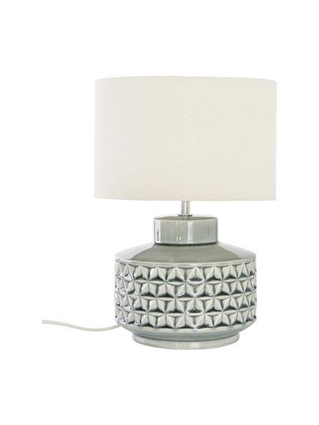 Kleine Keramik-Tischlampe Monica mit Leinenschirm, Lampenschirm: Leinen, Lampenfuß: Keramik, Beige, Grau, Ø 23 x H 33 cm