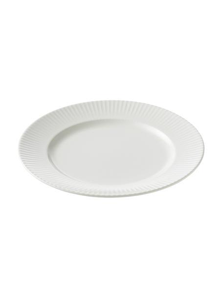 Witte ontbijtbord Groove met groefstructuur, 4 stuks, Porselein, Wit, Ø 21 x H 1 cm