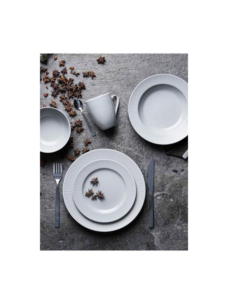 Piattino da dessert con struttura rigata Groove 4 pz, Gres, Bianco, Ø 21 x Alt. 1 cm