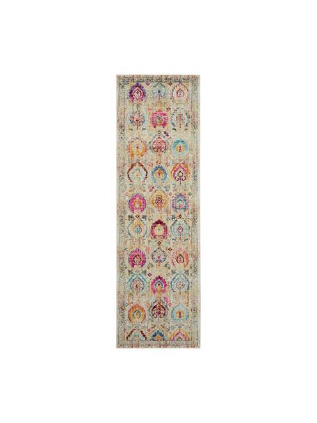 Alfombra de pelo corto Kashan, estilo vintage, Parte superior: 100%polipropileno, Reverso: látex, Beige, multicolor, An 60 x L 175 cm