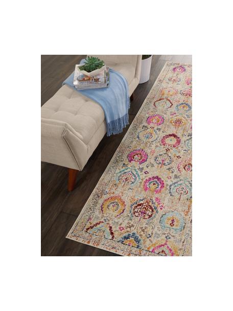 Passatoia a pelo corto con ornamenti colorati Kashan Vintage, Retro: lattice, Beige, multicolore, Larg. 60 x Lung. 175 cm