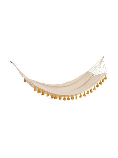 Amaca con nappe color giallo ocra Quast, Cotone, lino, poliestere, Color crema, giallo ocra, Larg. 228 x Alt. 335 cm