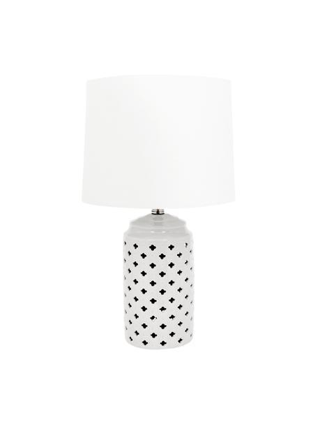 Große Keramik-Tischlampe Naomi, Lampenschirm: Textil, Lampenfuß: Keramik, Weiß, Ø 28 x H 52 cm