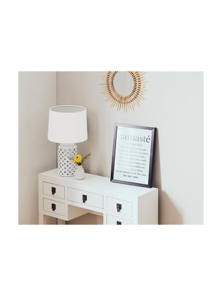 Grote keramische tafellamp Naomi, Lampenkap: textiel, Lampvoet: keramiek, Wit, taupe, Ø 28 cm