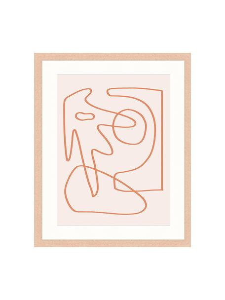 Impresión digital enmarcada Abstract Organic Drawing, Rosa, naranja, An 43 x Al 53 cm