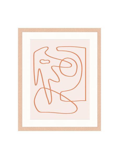 Ingelijste digitale print Abstract Organic Drawing, Afbeelding: digitale print op papier,, Lijst: gelakt hout, Roze, oranje, 43 x 53 cm