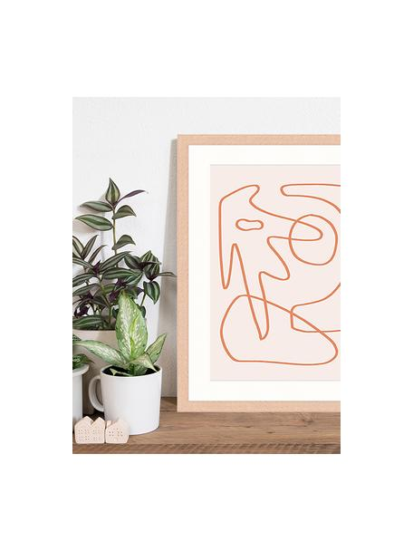 Stampa digitale incorniciata Abstract Organic Drawing, Immagine: stampa digitale su carta,, Cornice: legno, verniciato, Rosa, arancione, Larg. 43 x Alt. 53 cm