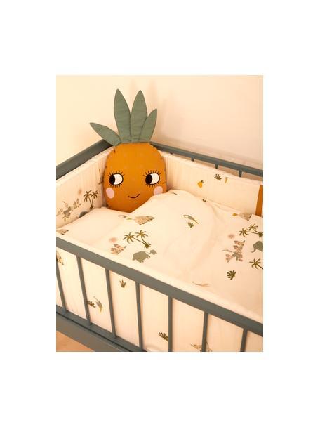 Kussen Pineapple, van bio-katoen, met vulling, Bekleding: 100% biokatoen, OCS-gecer, Geel, 30 x 56 cm
