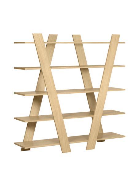 Libreria di design effetto legno Blow, Rivestimento: Pannello di fibra a media, Legno di quercia, Larg. 156 x Alt. 160 cm