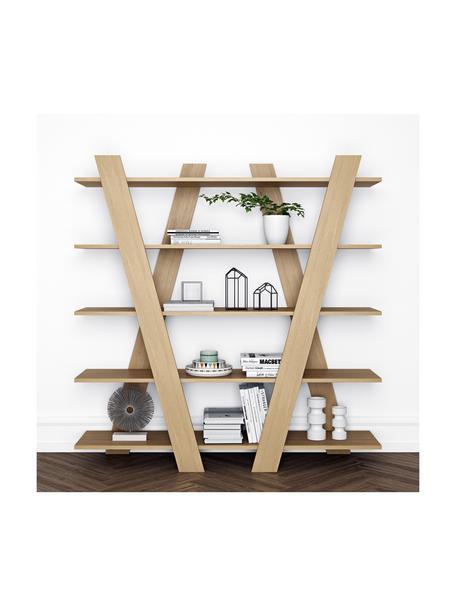 Libreria Blow, Coperchio: Pannello di fibra a media, Legno di quercia, Larg. 156 x Alt. 160 cm