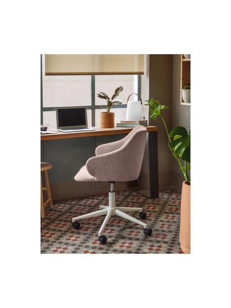 Sedia da ufficio girevole Einara, Rivestimento: poliestere, Struttura: acciaio rivestito, Ruote: polipropilene, Rosa, bianco, Larg. 64 x Alt. 64 cm