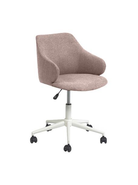 Tapicerowane krzesło biurowe Einara, obrotowe, Tapicerka: poliester, Stelaż: stal powlekana, Blady różowy, S 64 x G 64 cm