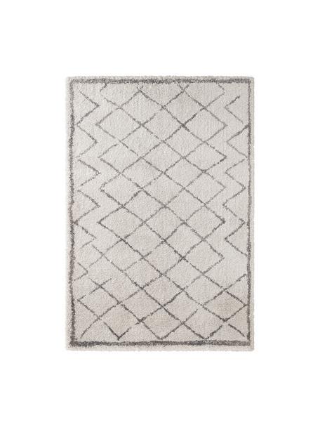 Hochflor-Teppich Luna Diamond mit Rautenmuster, Grau/Creme, Flor: 100% Polypropylen, Creme, Grau, B 200 x L 290 cm (Größe L)
