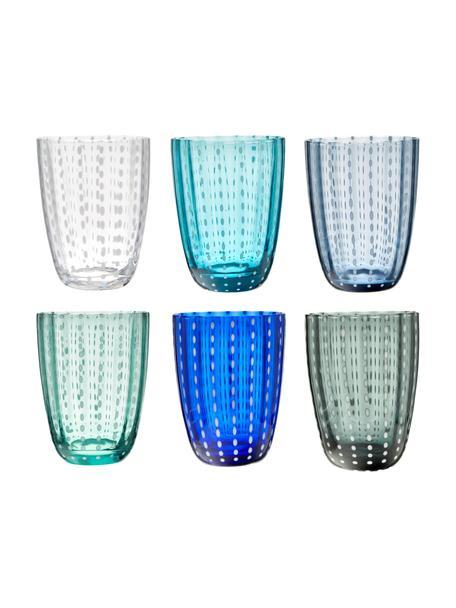Vasos de colores Kalahari, 6uds., Vidrio, Multicolor, Ø 9 x Al 11 cm