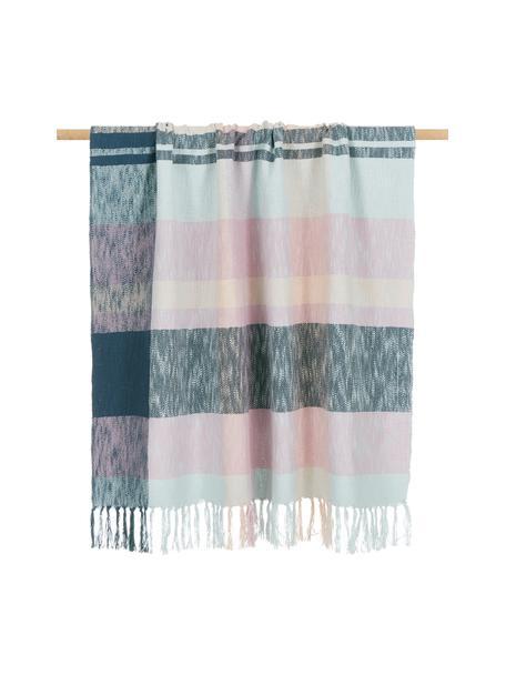 Coperta in cotone a quadri con frange in tonalità pastello/blu Karen, 100% cotone, Multicolore, Larg. 130 x Lung. 170 cm
