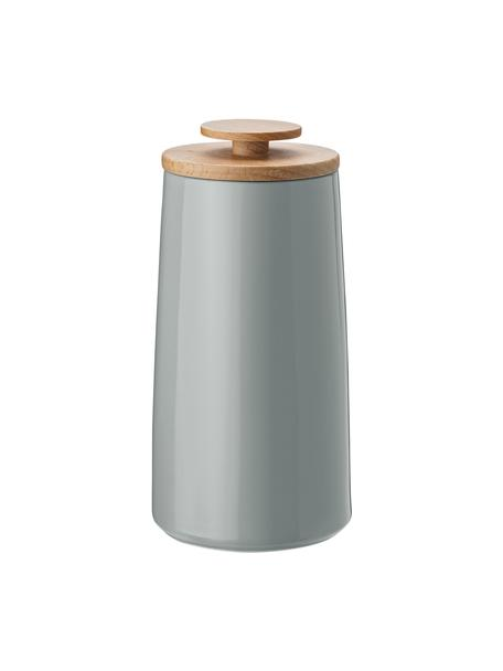 Opbergpot Emma, Ø 10 x H 20cm, Deksel: beukenhout, Opbergpot: grijs. Deksel: beukenhoutkleurig, Inhoud: 300 g