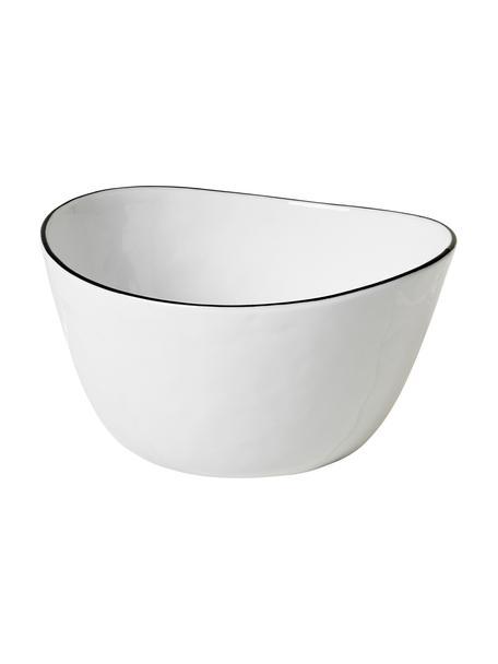 Ręcznie wykonana miska Salt, Porcelana, Złamana biel Krawędź: czarny, Ø 20 cm
