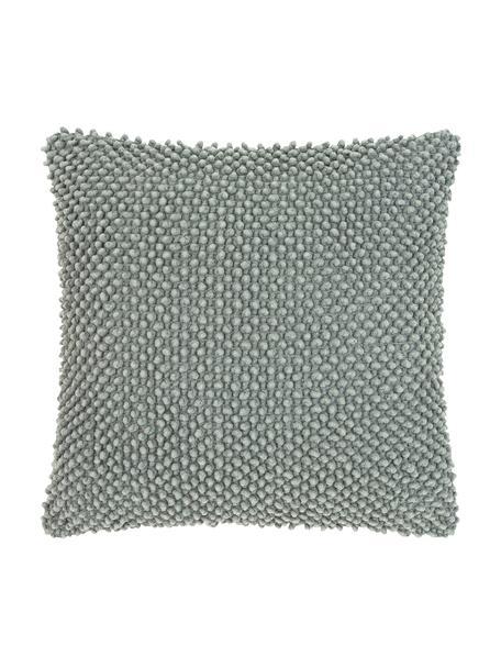 Funda de cojín texturizada Indi, 100%algodón, Verde salvia, An 45 x L 45 cm