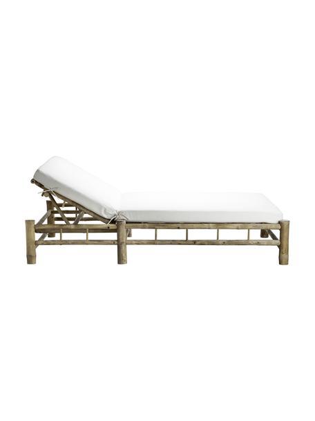 Lettino prendisole in cotone e bambù Bambed, Struttura: bambù, Rivestimento: 100% cotone, Rivestimento: poliestere, Bianco, marrone, Larg. 150 x Lung. 210 cm
