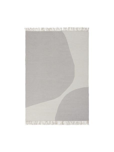 Handgewebter Kelimteppich Stones mit abstraktem Muster, 81% Wolle, 19% Baumwolle  Bei Wollteppichen können sich in den ersten Wochen der Nutzung Fasern lösen, dies reduziert sich durch den täglichen Gebrauch und die Flusenbildung geht zurück., Gebrochenes Weiß, Beige, B 160 x L 230 cm (Größe M)