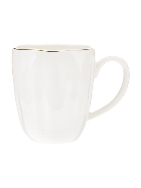 Tazza in porcellana con bordo dorato Sali 2 pz, Porcellana, Bianco, Ø 9 x Alt. 10 cm