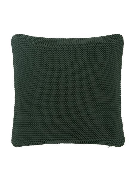 Dzianinowa poszewka na poduszkę z bawełny organicznej  Adalyn, 100% bawełna organiczna, certyfikat GOTS, Ciemny zielony, S 40 x D 40 cm