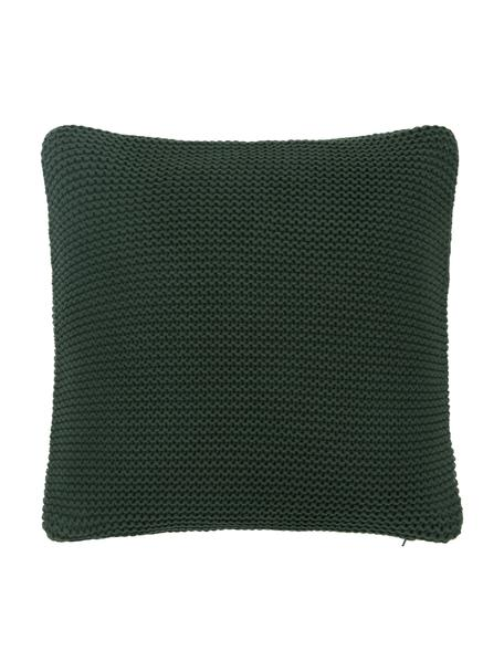 Federa arredo a maglia verde scuro Adalyn, 100% cotone, Verde scuro, Larg. 40 x Lung. 40 cm