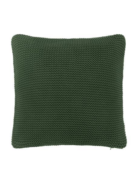 Federa arredo a maglia in cotone biologico verde scuro Adalyn, 100% cotone biologico, certificato GOTS, Verde scuro, Larg. 40 x Lung. 40 cm