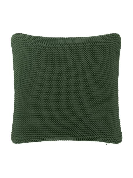 Funda de cojín de punto de algodón ecológico Adalyn, 100%algodón ecológico, certificado GOTS, Verde oscuro, An 40 x L 40 cm