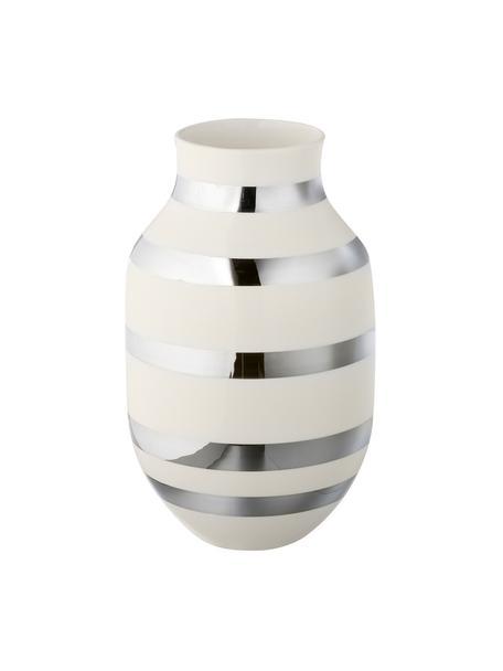 Große handgefertigte Design-Vase Omaggio, Keramik, Silberfarben, glänzend, Weiß, Ø 20 x H 30 cm